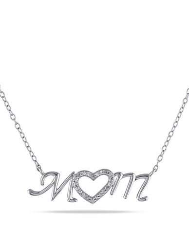 Concerto Sterling Silver Mom Heart Necklace with 0.06 TCW Diamonds-DIAMOND-One Size