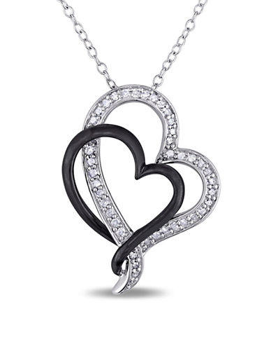 Concerto 0.246 TCW Diamond Heart Necklace in Sterling Silver and Black Rhodium Plating-DIAMOND-One Size