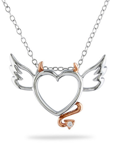 Concerto Sterling Silver Heart Necklace with 0.01 TCW Diamonds-DIAMOND-One Size