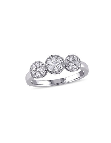Concerto 0.245 TCW Diamond Floral Cluster Ring in Sterling Silver-DIAMOND-5