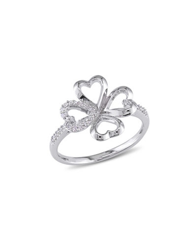 Concerto Sterling Silver Clover Ring with 0.102 TCW Diamonds-DIAMOND-8