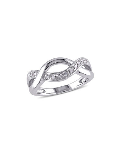 Concerto Sterling Silver 0.10 TCW Diamond Twist Ring-DIAMOND-9