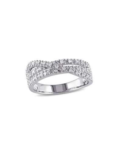 Concerto Sterling Silver and 0.25 TCW Diamond Crossover Ring-DIAMOND-5