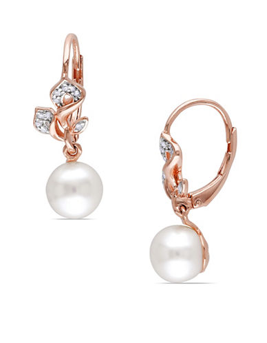 Concerto 7.5-8mm Pearl and 0.10TCW Diamond Floral Drop Earrings-WHITE-One Size