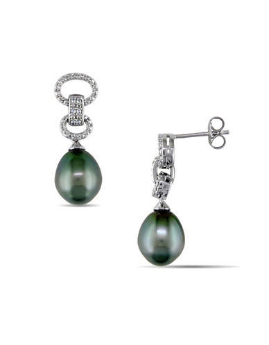Concerto 9-9.5mm Tahitian Pearl and 0.05TCW Diamond Accent Circle Link Earrings-BLACK-One Size
