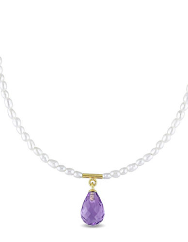 Concerto 1.5-2.5MM Cultured Freshwater Pearl and Amethyst Briolette Necklace-MULTI-One Size