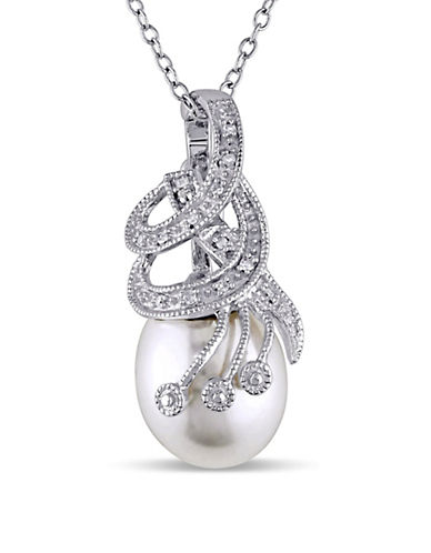 Concerto 10-10.5 White Rice Freshwater Pearl and Sterling Silver Swirl Necklace 0.04TCW Diamond-PEARL-One Size