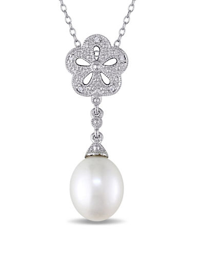 Concerto 9.5-10mm Pearl and 0.04TCW Diamond Vintage Necklace-PEARL-One Size