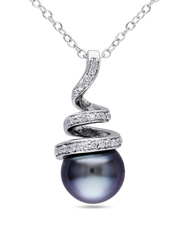 Concerto 8-8.5mm Tahitian Pearl and  0.10TCW Diamond Spiral Necklace-BLACK-One Size