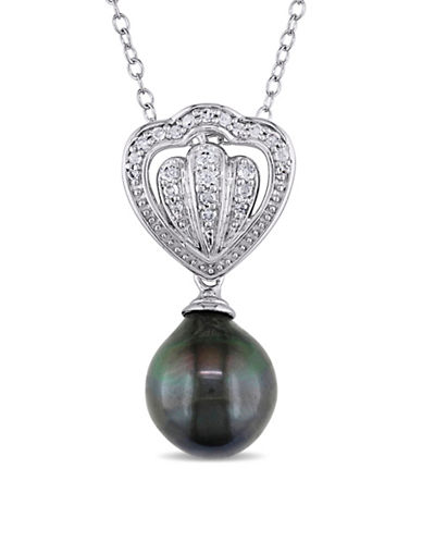 Concerto 8-8.5MM Cultured Tahitian Pearl Royal Necklace with 0.13 TCW Diamonds-BLACK-One Size