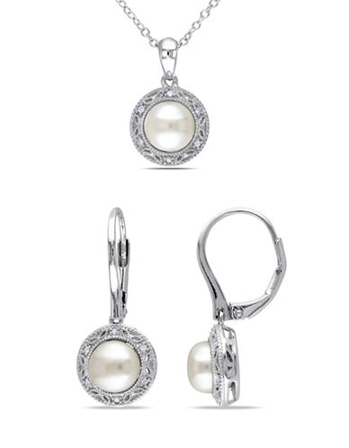 Concerto 7.5-8MM Cultured Freshwater Pearl Halo Necklace and Earrings Set with 0.10 TCW Diamonds-PEARL-One Size