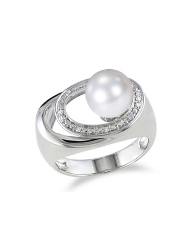 Concerto 9-9.5mm Pearl and 0.04TCW Diamond Circle Cocktail Ring-PEARL-9