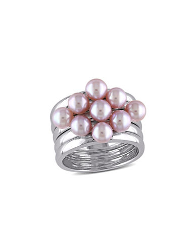Concerto 4.5-5mm Pink Pearl Stacking Ring Set-PINK-9