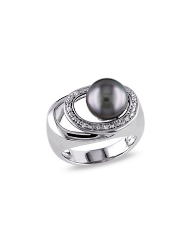 Concerto 9-9.5mm Round Tahitian Pearl and Diamond Circle Sterling Silver Cocktail Ring-SILVER-6