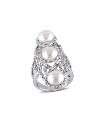 Concerto 8-8.5MM Cultured Freshwater Pearl Gladiator Ring with 0.20 TCW Diamonds-WHITE-7