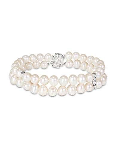Concerto 6-7mm Freshwater Pearl and Sterling Silver Double-Row Bracelet-WHITE-One Size