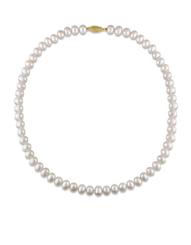 Concerto 6-7mm Freshwater Pearl and 14K Yellow Gold Necklace-WHITE-One Size