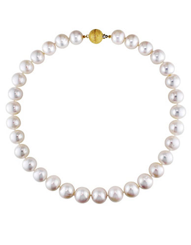 Concerto 12.5-14.5mm White Cultured Freshwater Pearl and 14K Yellow Gold Necklace-WHITE-One Size