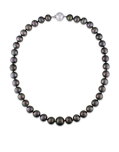 Concerto 10-13MM Black Tahitian Pearl and 14K White Gold Graduated Necklace-BLACK-One Size