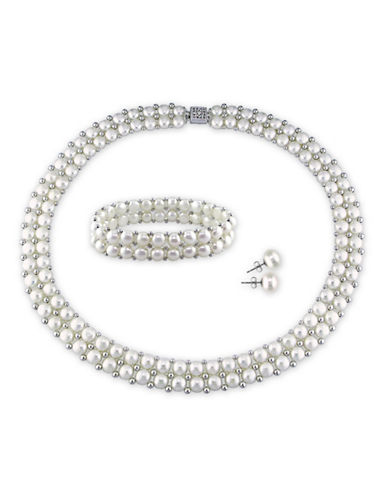 Concerto 6-8mm White Button Freshwater Pearl Sterling Silver Necklace, Bracelet and Earrings Set-WHITE-One Size