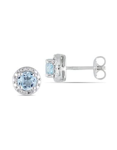 Concerto Halo Blue Topaz Sterling Silver Stud Earrings-BLUE TOPAZ-One Size