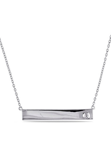 Concerto Linear White Sapphire Sterling Silver Pendent Necklace-SAPPHIRE-One Size