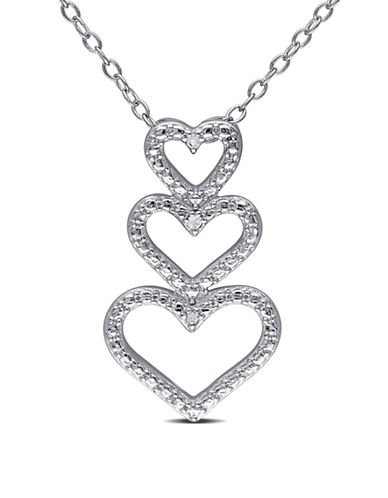 Concerto Sterling Silver 0.015 TCW Diamond Triple Heart Necklace-DIAMOND-One Size