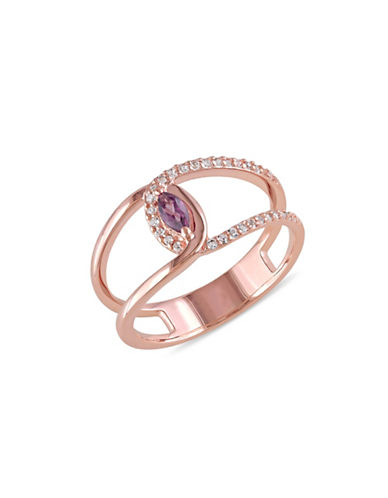 Concerto Split Shank Rhodolite and White Topaz Rose-Goldplated Sterling Silver Ring-MULTI-6