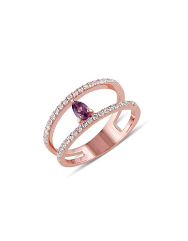 Concerto Teardrop Rhodolite White Topaz Rose-Goldplated Sterling Silver Ring-MULTI-6