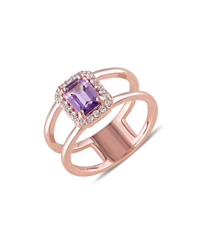 Concerto Halo Amethyst White Topaz Rose-Goldplated Sterling Silver Ring-MULTI-5