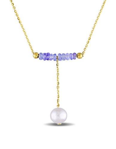 Concerto 7.5mm-8mm Freshwater Pearl and 3.20 TCW Tanzanite Necklace-MULTI-One Size