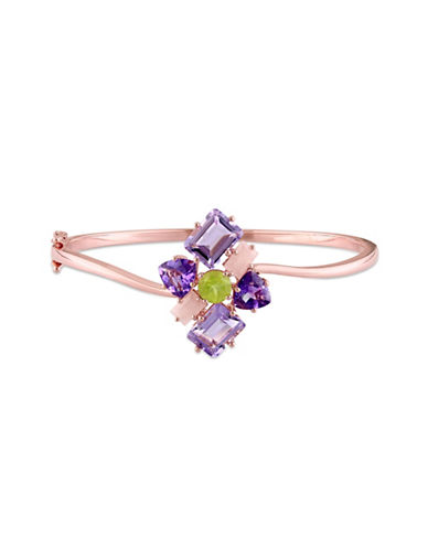 Catherine Malandrino 18K Rose Goldplated Amethyst, Guava Quartz and Peridot Cluster Bangle-MULTI-One Size