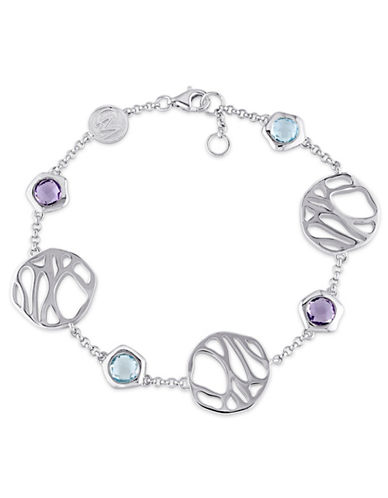 Catherine Malandrino Crochet Sterling Silver Amethyst and Topaz Station Bracelet-MULTI-One Size