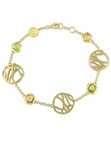 Catherine Malandrino Crochet 18K Yellow Goldplated Sterling Silver Peridot and Citrine Station Bracelet-MULTI-One Size