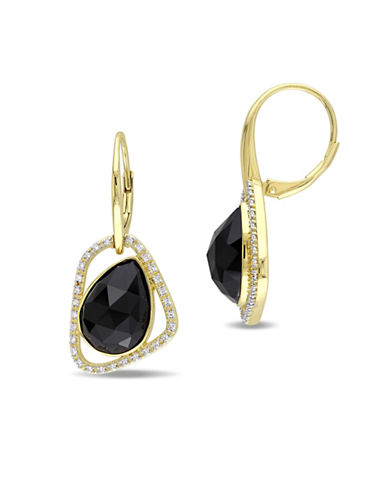 Catherine Malandrino Bon Vivant 18K Yellow Goldplated Sterling Silver Black Agate Abstract Drop-BLACK-One Size