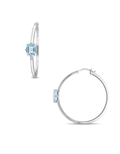 Catherine Malandrino Colour Mosaics Sterling Silver Blue Topaz Hoop Earrings-BLUE-One Size