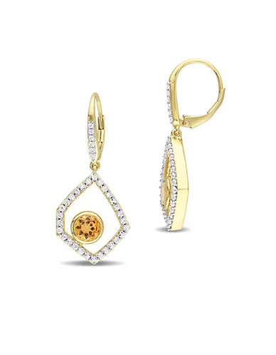 Catherine Malandrino Off-Geometric 18K Yellow Goldplated Citrine, Sapphire and Diamonds Drop Earrings-MULTI-One Size