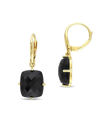 Catherine Malandrino Bon Vivant 18K Yellow Goldplated Sterling Silver Agate Drop Earrings-BLACK-One Size