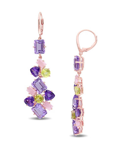 Catherine Malandrino 18K Rose Goldplated Amethyst and Guava Quartz Cluster Drop Earrings-MULTI-One Size