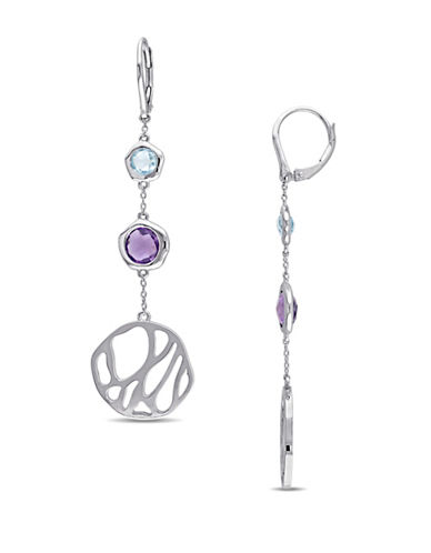 Catherine Malandrino Crochet Sterling Silver Circle Blue Topaz and Amethyst Drop Earrings-MULTI-One Size