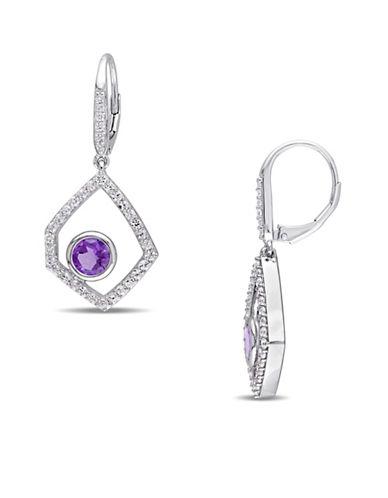 Catherine Malandrino Off-Geometrics Amethyst and Diamonds Drop Earrings-MULTI-One Size