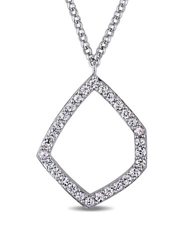Catherine Malandrino Modern Lines Sterling Silver Sapphire Geometric Pendant Necklace-BLUE-One Size