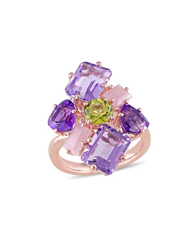 Catherine Malandrino Rose Gold Plated Gemstone Cluster Ring-MULTI-8