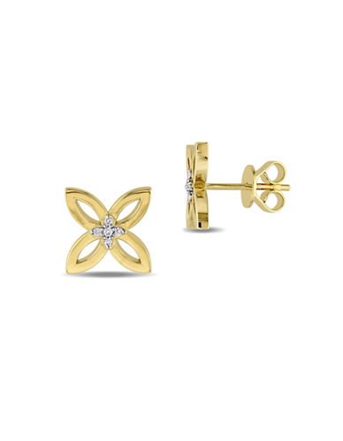 Catherine Malandrino Modern Lines 18K Yellow Goldplated Sterling Silver Four-Leaf Stud Earrings-DIAMOND-One Size
