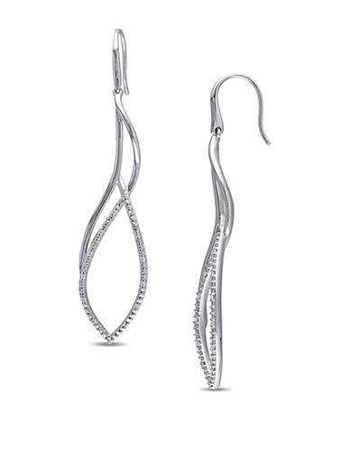 Catherine Malandrino Plain and Texture 0.13 TCW Diamonds Flame Twist Earrings-DIAMOND-One Size