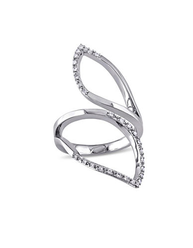 Catherine Malandrino Sterling Silver Leaf Ring with 0.15 TCW Diamonds-DIAMOND-6