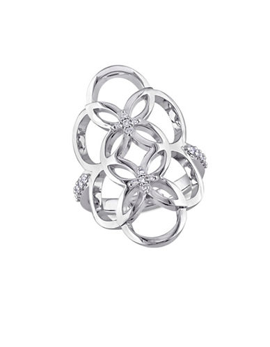 Catherine Malandrino Sterling Silver Linked Floral Ring with 0.16 TCW Diamonds-DIAMOND-6