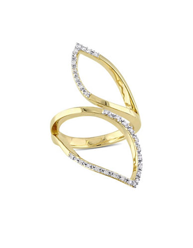 Catherine Malandrino Gold Plated Leaf Ring with 0.15 TCW Diamonds-DIAMOND-7