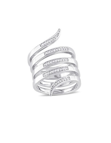 Catherine Malandrino Sterling Silver Wrap Ring with 0.20 TCW Diamonds-DIAMOND-5