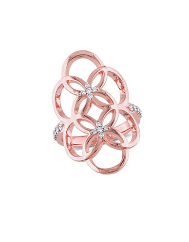 Catherine Malandrino Rose Gold Plated Linked Floral Ring with 0.16 TCW Diamonds-DIAMOND-9